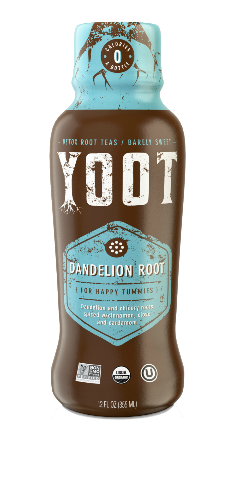 YOOT Chai Dandelion Tea - [ a light chai tea barely sweetened to promote happy tummies & satisfy all the cravings]12 Fl oz (355 ml)
