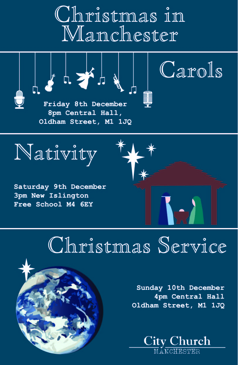 Christmas in Manchester poster for City Church Manchester UK