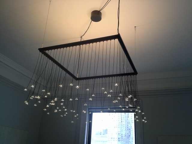 A Brooklyn-based manufacturer donated this creative light to BeeX, which hangs over the boardroom.