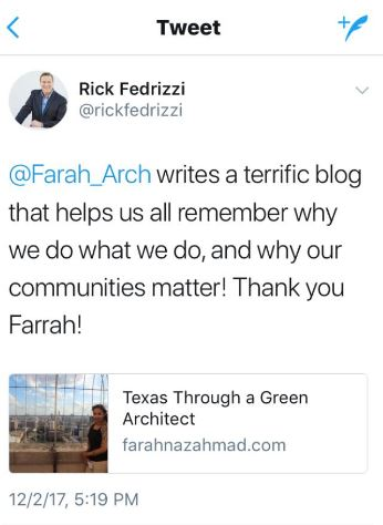 Social media support from former United States Green Building Council CEO & current CEO of International Well Building Institute, Rick Fedrizzi