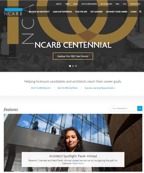 NCARB homepage feature