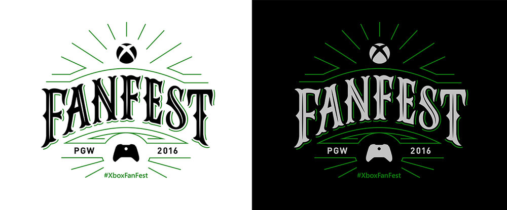 Final logo color executions used internationally across several Xbox Fanfest events and their accompanying collateral