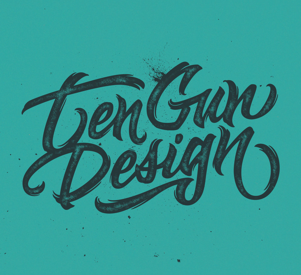 "Alternate digital executions of signature ""Ten Gun Design"" lettering"