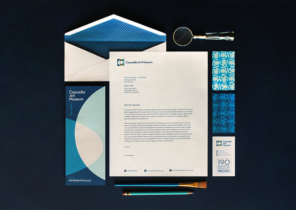 Letterhead, business card and brochure design
