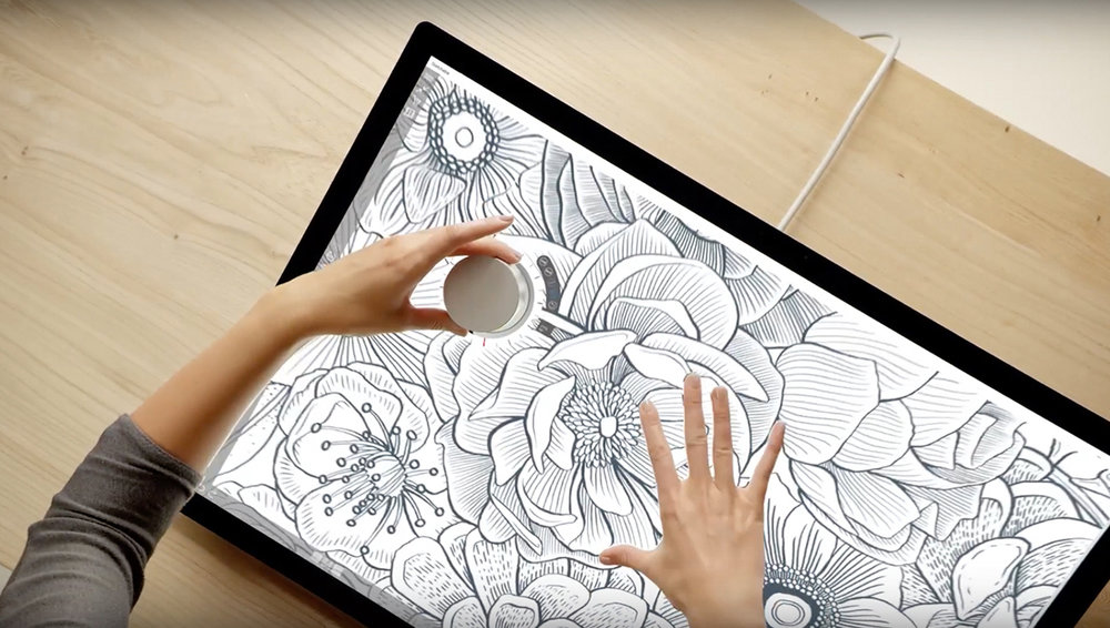 Floral Illustration screen featured at 1:22 of the Introducing Microsoft Surface Studio promo video