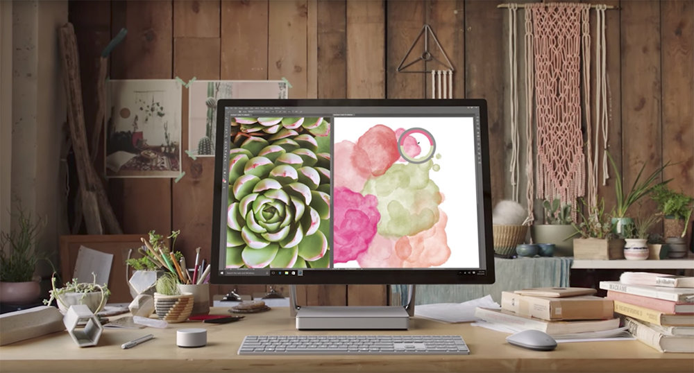 Digital Watercolor screen featured at 1:45 of the Introducing Microsoft Surface Studio promo video