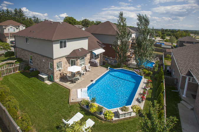 Elevated photo of a suburban backyard in Guelph, Ontario.