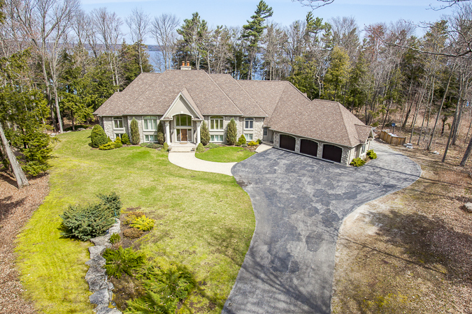 Luxury home in Barrie, Ontario photographed from 35 feet high.
