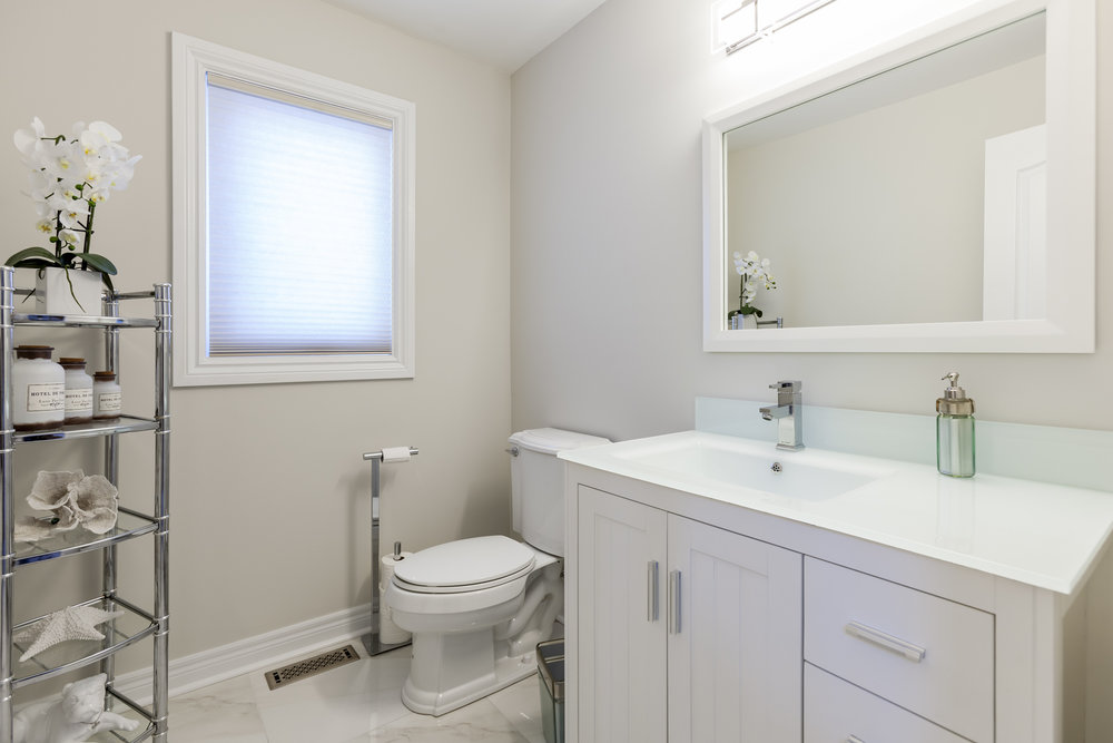 Bright, white washroom.