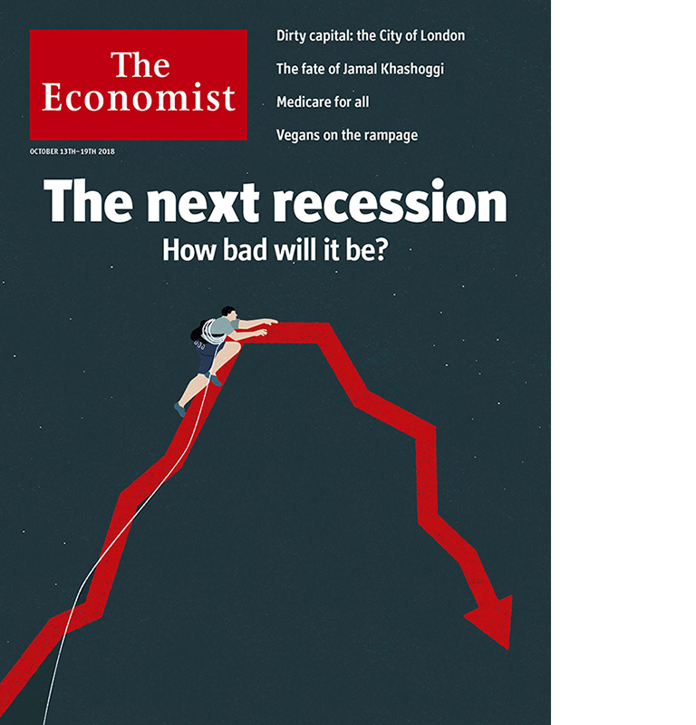 Cover and inside illustrations for The Economist special report about the next recession.