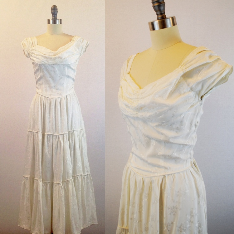 1940\'s Floral rayon wedding dress — The Ivy Retreat