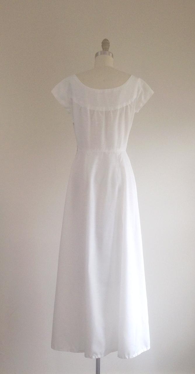 White wedding dress- Simple wedding dress- White gown- Cotton ...