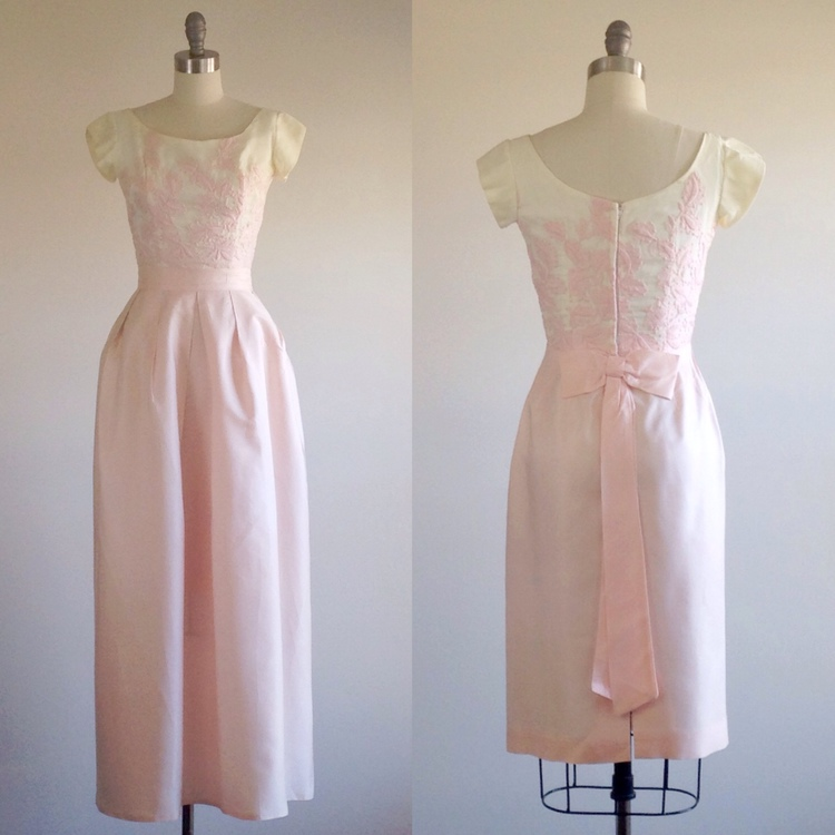 Pink wedding dress- Pink prom dress- Formal gown- 1960s dress — The ...
