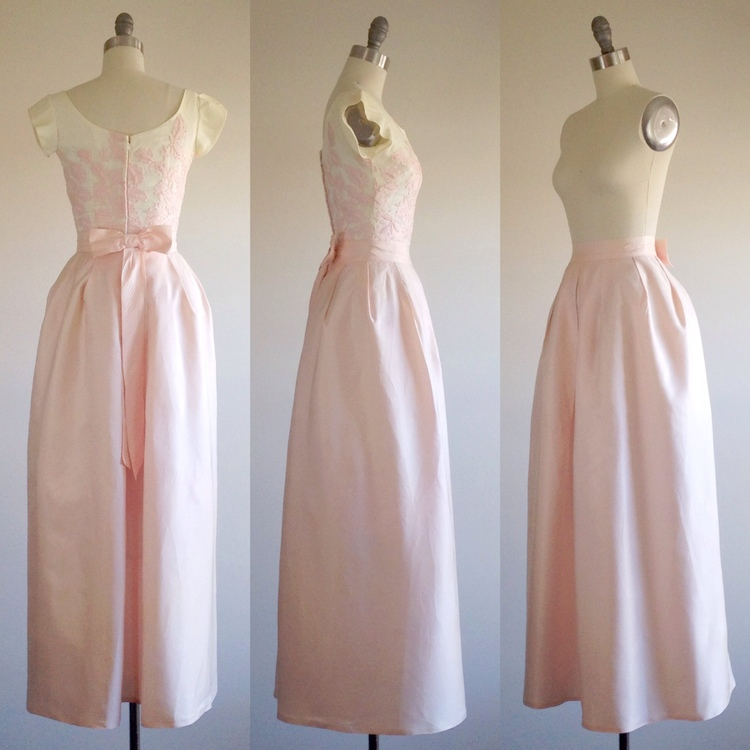 Pink Wedding Dress Pink Prom Dress Formal Gown 1960s Dress The