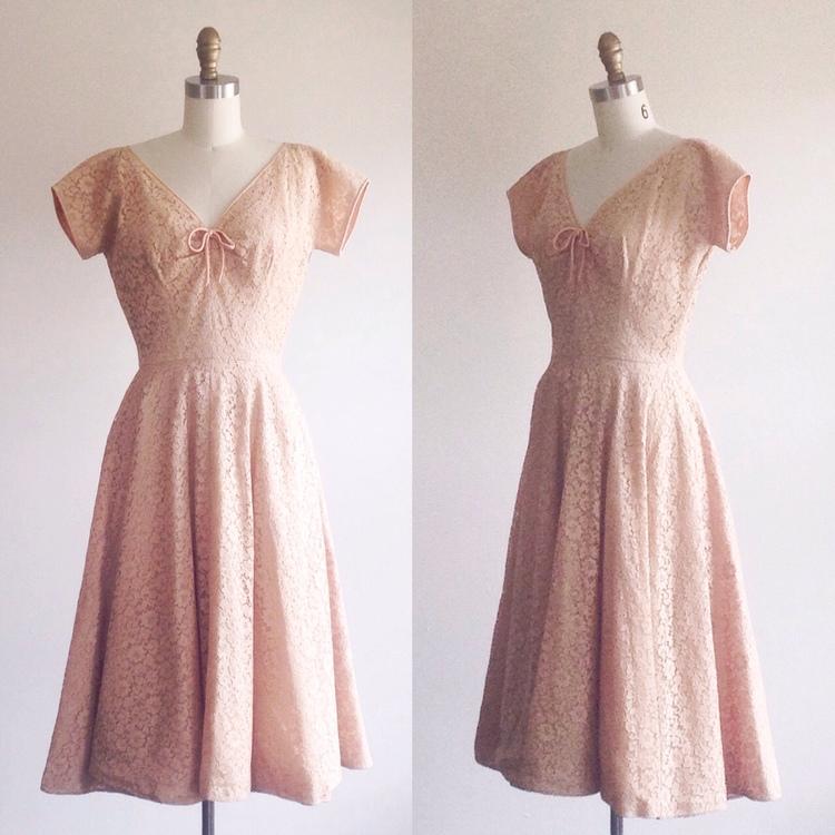 Lace dress- Lace cocktail dress-50s cocktail dress-A-line dress-Lace ...