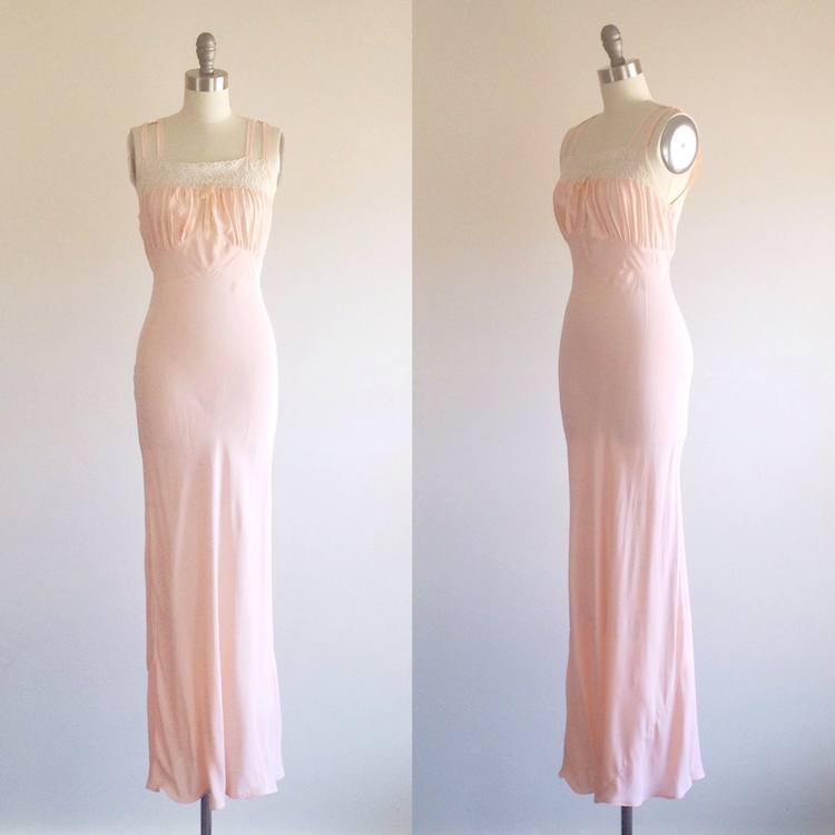 Pink gown- Pink chemise- Pink lingerie- Slip- 1940s dress — The Ivy ...