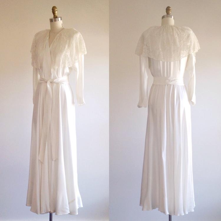 Satin wedding dress- Satin robe- Wedding negligee- Dressing robe ...