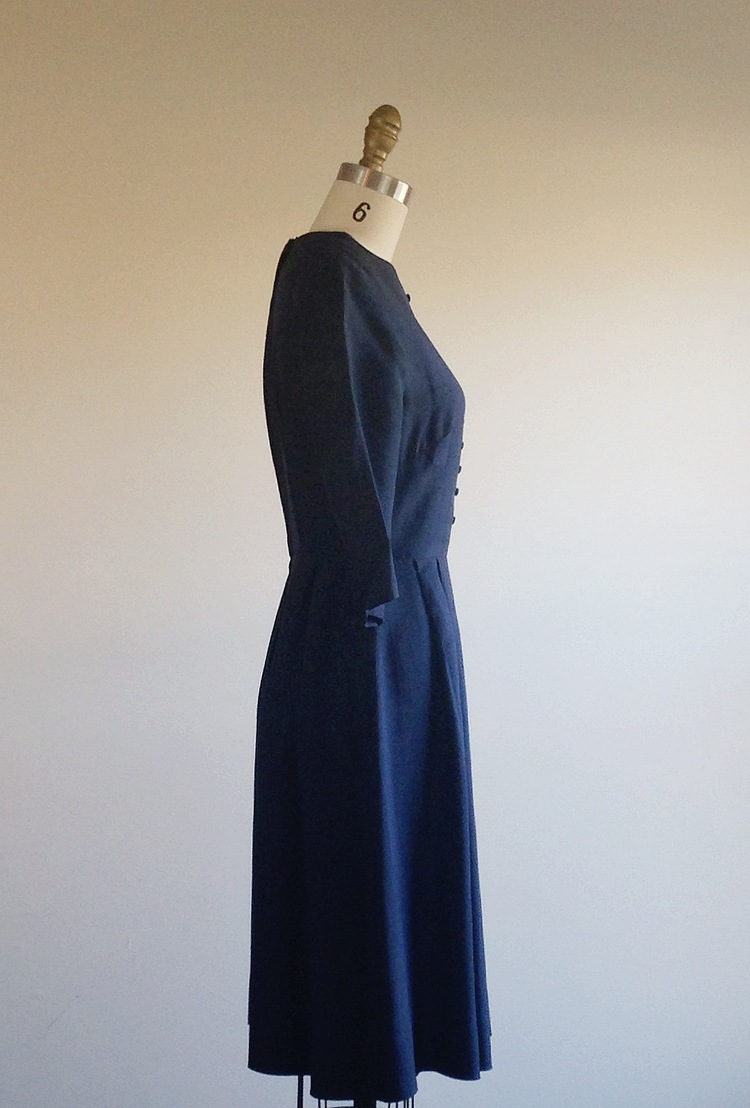 Navy dress- Blue dress- Navy blue dress- A-line dress- Three quarter ...