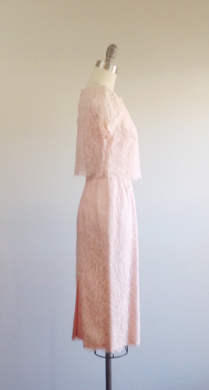 Lace dress- Pink dress- Scalloped lace- Two piece dress- Preppy ...