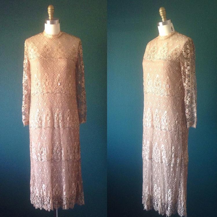 Tan wedding dress-Lace wedding dress- Beaded dress- Unique wedding ...