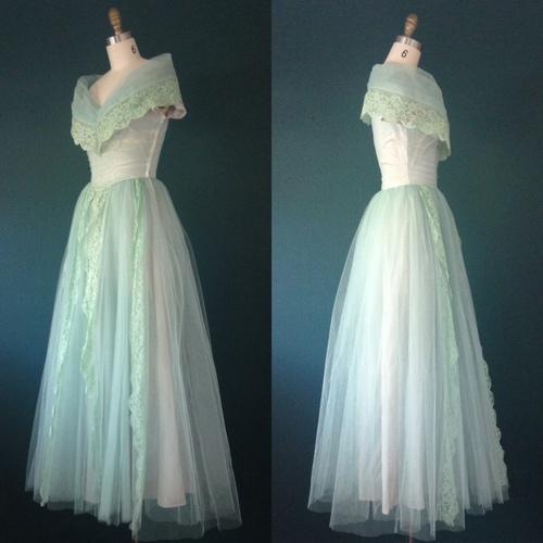 3c55fde862a 580-Green gown- Mint dress-Green dress-1950s dress-Green prom dress-Seafoam  dress