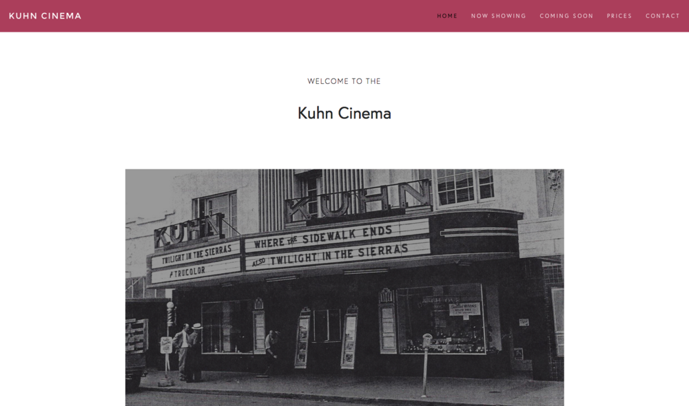 Small Business Website Movie Theater Website