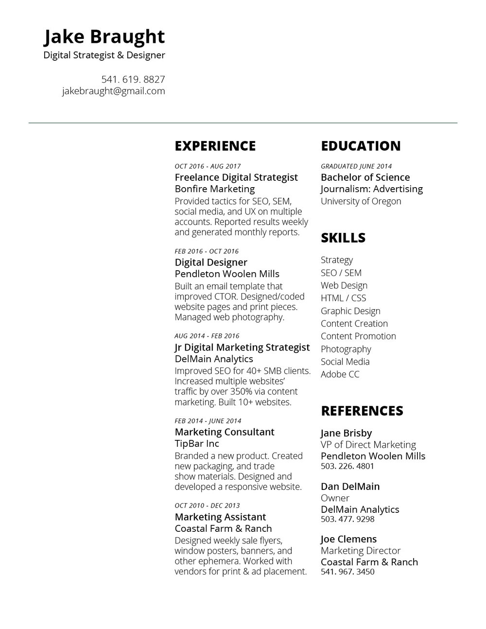 Jake Braught Resume  Digital Strategist Resume