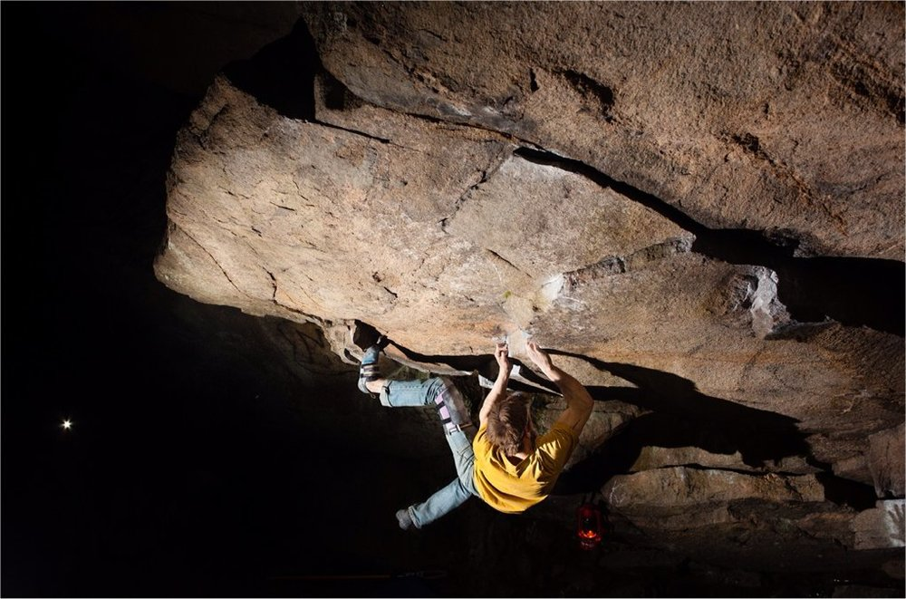 Matt Giossi on his new problem, Work of Man, V12 in Southern, Rhode Island.  Photograph by Chris Motta.