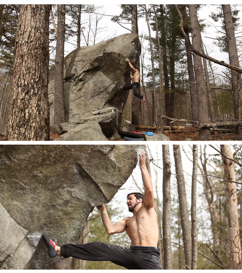 A few screenshots of Back Mattress' in-progress video of Dave Wetmore working on a new first ascent in New Hampshire.