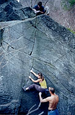 Zig Zag Crack, V1, at Rumney, NH.  Photo by Dave Jusseaume.