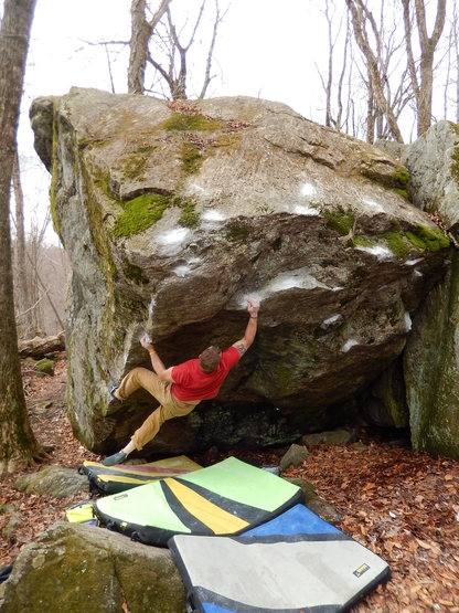 Instant Yoga, V8, at Nine Corners Lake, NY. Photograph by Justin Sanford.