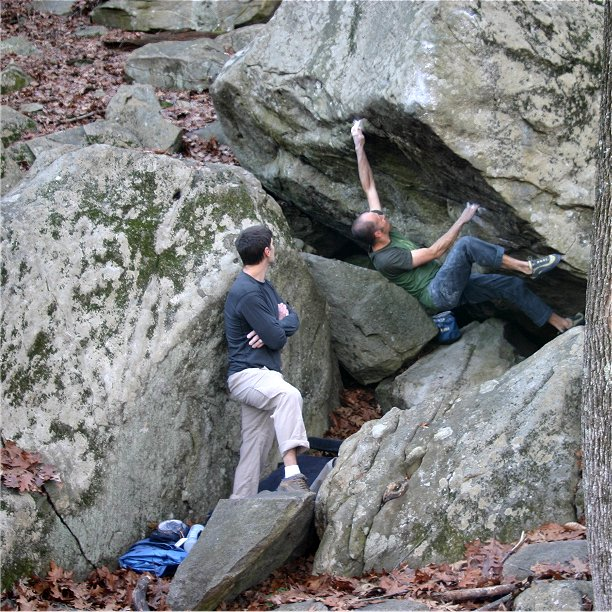 Last Call, V7, Lincoln Woods, RI.  Photograph by Michael Hartford.