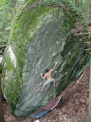 Scottie Raymond on  Kanga , V6, in Waterbury, Vermont. Photograph by Josh Worley.