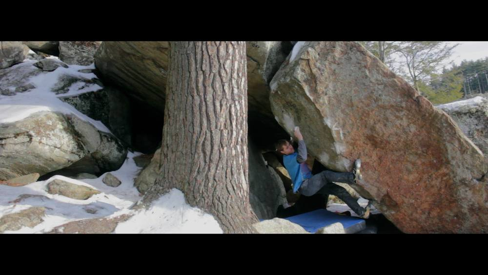 Screenshot of Kai Webler sending Chunk of Blitz, V11/12 at Pawtuckaway.