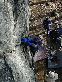 "Brett Myers ""warming"" up for a winter bouldering session."