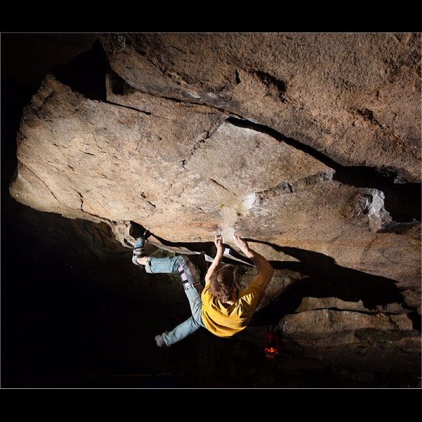 Matt Giossi on the FA of Work of Man, V12.  Photo by Chris Motta.