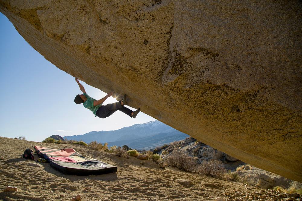 Josh on The Spectre, V13, Bishop, CA. Photograph by Dan Krauss.