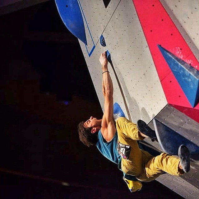 Josh on Problem #4 in the finals at the ABS Nationals.  Photograph from USA climbing.