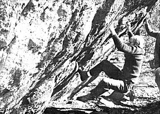 John McLean circa 1978 on the third ascent of The Great Thanksgiving Day Smokeout (reverse Iron Cross) shortly after the first and second ascents.