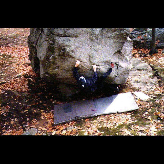 #tbt of Chris Ryan just before the #FA of Hats Off at #lincolnwoods Shortly after this was taken Chris removed his hat and the problem was sent and had a name. Take note of the old school homemade crashpads!  Head over to the website for some more woods history. #newenglandbouldering #climbing #climberism #bouldering #rockclimbing