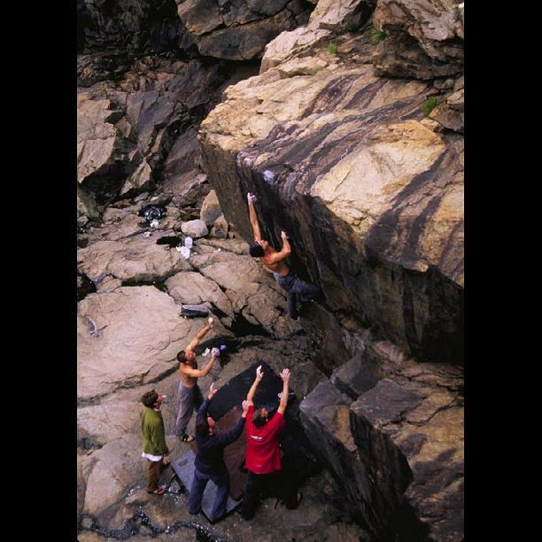 #tbt to a great @timkemple photo of a dedicated crew #bouldering in #acadianationalpark #newenglandbouldering #climbing #rockclimbing #climberism