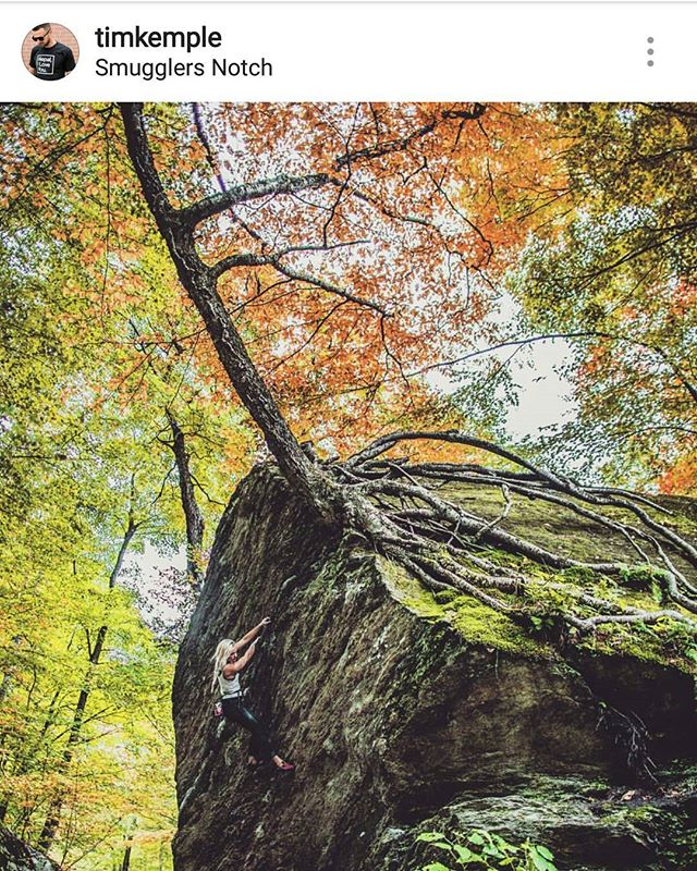 @timkemple was recently back in the area working on the 3rd edition of the New England Bouldering guidebook and took this amazing shot of the Roots boulder. Can't wait to see the new book! #newenglandbouldering #wolverinepublishing #vt #smugglersnotch #bouldering @camp4collective