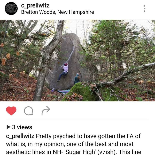 Check out this awesome new problem  @c_prellwitz recently did in NH!  #newenglandbouldering #bouldering