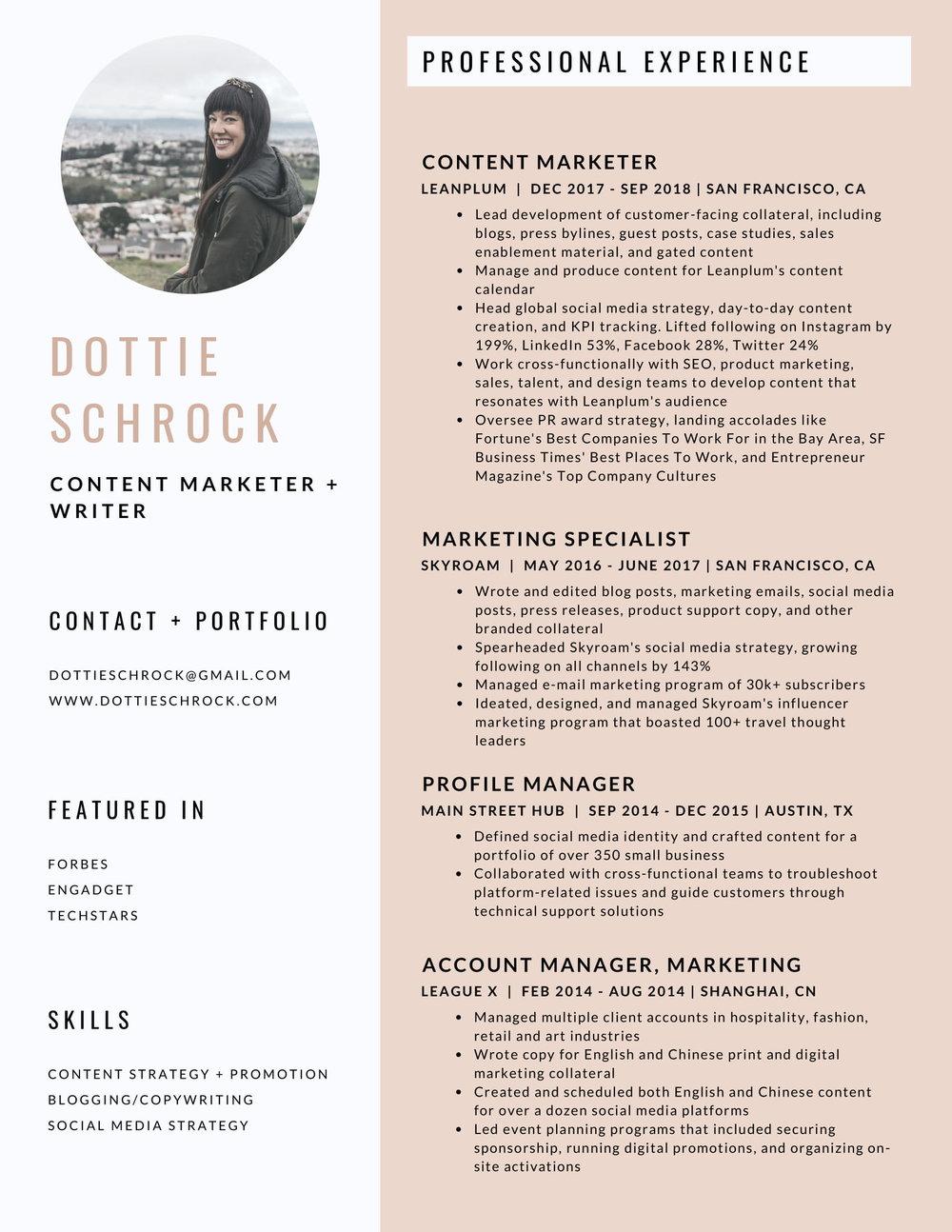 Resume Dottie Schrock