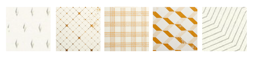 LR00038-47 Rhodia - Heritage  Book Block Notebook / A5 Raw Binding Notebook / 80 ivory sheets / lined or grid ($15)  left to right // Moucheture, Quadrille, Tartan, Escher, Chevrons