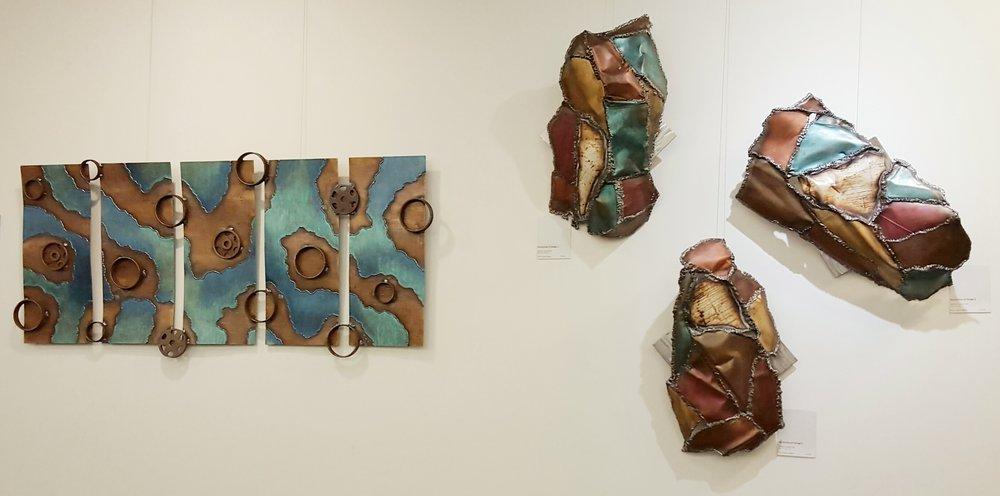 """earth bound   (28"""" x 61"""") &    my journey of change    (triptych, each piece ~ 24"""" x 22"""" x 7"""")"""