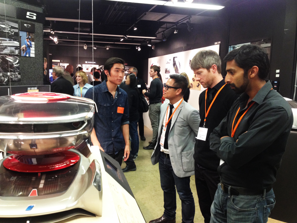 Chris Lee presents his futuristic BMW concept to Nissan recruiters.