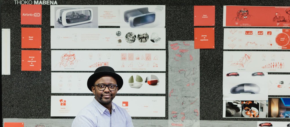 Transportation Design student Thokozani Mabena with part of his Spring 2017 Grad Show project Airbnb-GO.