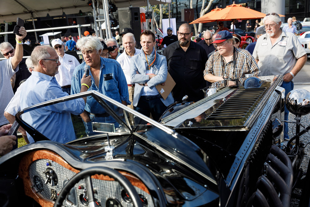Stewart Reed with Jay Leno on the concours Lawn.  Photo by Juan Posada, courtesy of ArtCenter College of Design.