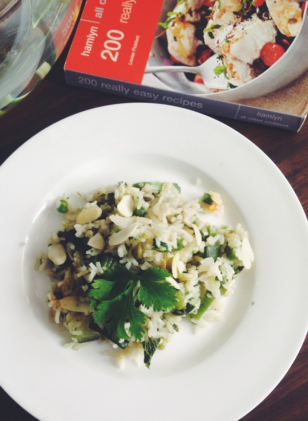 the healthy and yummy spring vegetable and herb pilaf